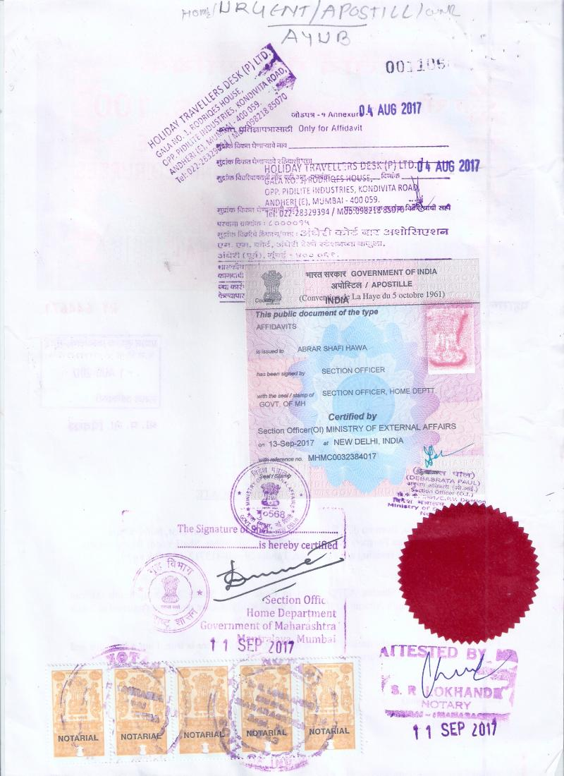 Single Status Certificate apostille for Thailand Image
