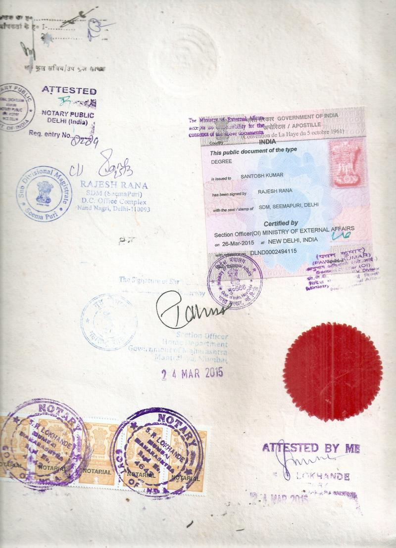 Degree Certificate apostille Image